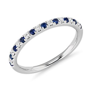 Sapphire Prong Set Diamond Band Made In 14K White Gold