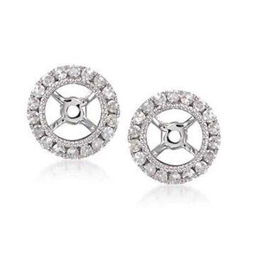 Round Earring Jackets Made In 14K White Gold