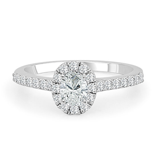 Halo Prong Set Diamond Engagement Ring made in 14k White gold (Total diamond weight 1 1/4 carat)-Oval