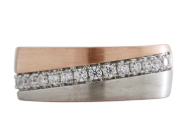 Men's Diamond Band made in 14k White and Rose Gold